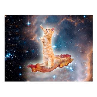 Gato que practica surf del tocino en el universo postales
