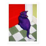 Gato que quiere salir aquí tarjeta postal
