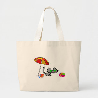 Gato que se divierte en la playa bolsas