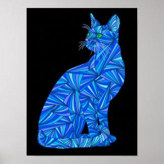 """Gato que se sienta abstracto azul 12"""" x 16"""" póster"""
