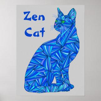 Gato que se sienta abstracto azul del gato del zen póster
