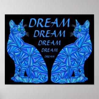 """Gato que se sienta abstracto azul IDEAL 14"""" x 11"""" Poster"""
