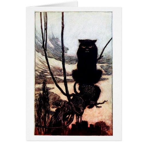 Gato que se sienta en una rama tarjeta de felicitación