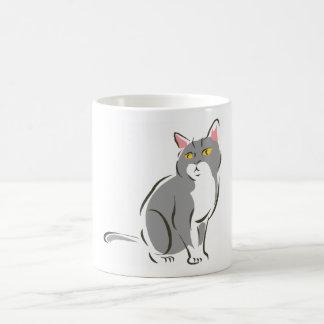 Gato que se sienta gris taza
