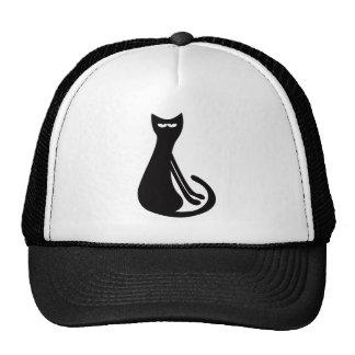 Gato que sienta el negro oblicuo Eyes# sí derecho Gorra