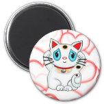 Gato que tienta afortunado blanco Maneki Neko Imán