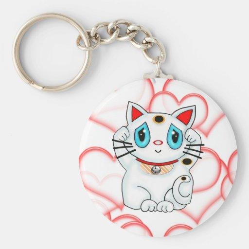 Gato que tienta afortunado blanco Maneki Neko Llavero Redondo Tipo Pin