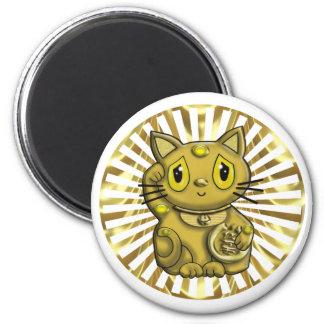 Gato que tienta afortunado de Maneki Neko del oro Imán Redondo 5 Cm