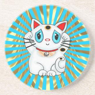 Gato que tienta afortunado de Maneki Neko Posavasos Manualidades