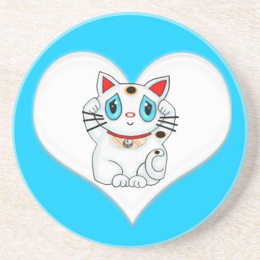 Gato que tienta afortunado de Maneki Neko Posavasos Personalizados