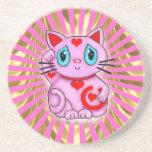 Gato que tienta afortunado rosado de Maneki Neko d Posavaso Para Bebida