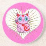 Gato que tienta afortunado rosado de Maneki Neko Posavasos Para Bebidas