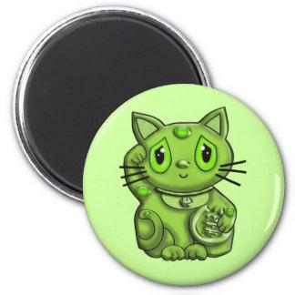 Gato que tienta afortunado verde de Maneki Neko Imán Redondo 5 Cm