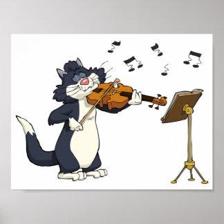 Gato que toca el violín póster