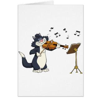 Gato que toca el violín tarjeta de felicitación