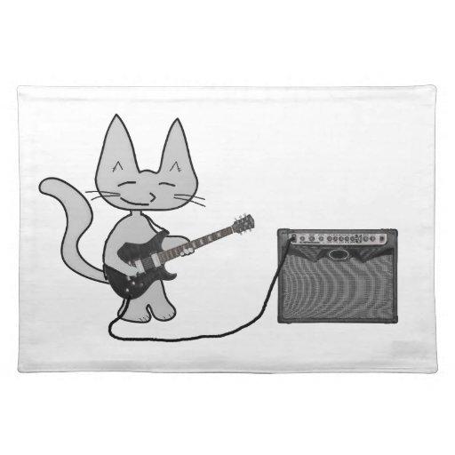 Gato que toca una guitarra mantel individual
