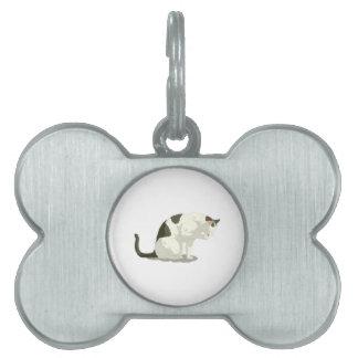 Gato que toma un baño placas de nombre de mascota