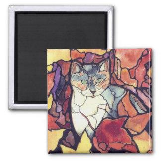 """Gato querido """"vitral """" del gatito de las hojas de  iman para frigorífico"""