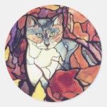"""Gato querido """"vitral """" del gatito de las hojas de  pegatinas redondas"""