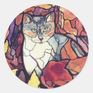 """Gato querido """"vitral """" del gatito de las hojas de pegatina redonda"""