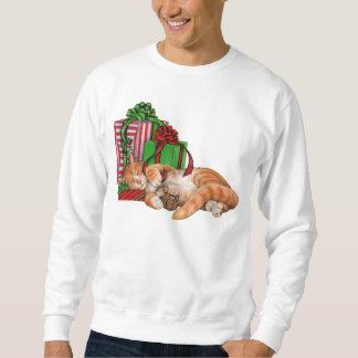 Gato, ratón y regalos de Navidad lindos Pulover Sudadera