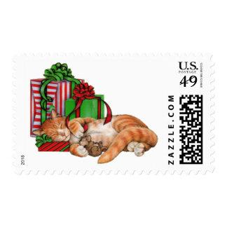 Gato, ratón y regalos de Navidad lindos Sello Postal