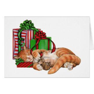Gato, ratón y regalos de Navidad lindos Tarjeta Pequeña