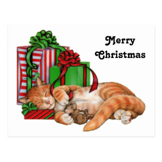 Gato, ratón y regalos de Navidad lindos Tarjeta Postal