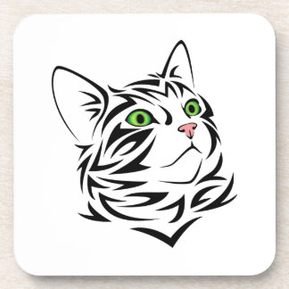 Gato rayado 1 del gatito posavasos de bebida