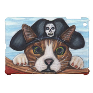 Gato rayado sorprendido lindo de Brown del pirata iPad Mini Cárcasas