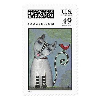Gato rayado y pájaro rojo - sello