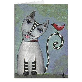 Gato rayado y pájaro rojo - tarjeta de felicitació