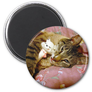 Gato real, gato falso imán redondo 5 cm