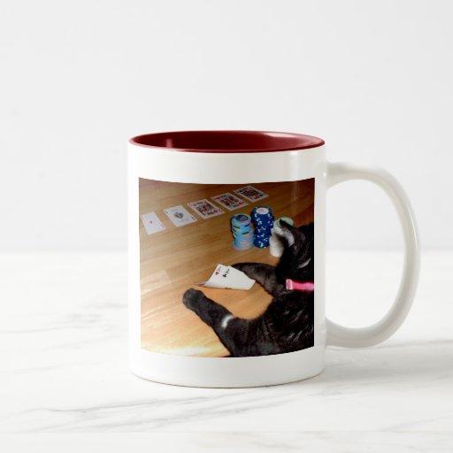 Gato real que juega la taza de café del póker