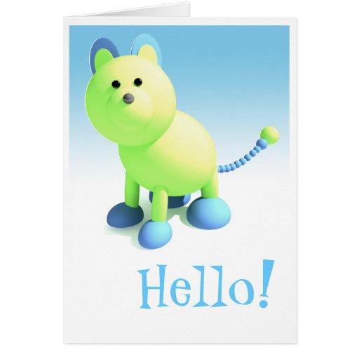 """Gato redondo """"hola"""" tarjeta de felicitación"""
