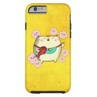 Gato redondo lindo de Maneki Neko Funda Resistente iPhone 6