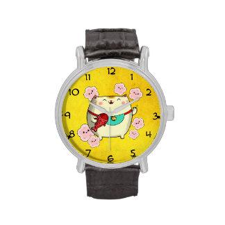 Gato redondo lindo de Maneki Neko Relojes De Mano
