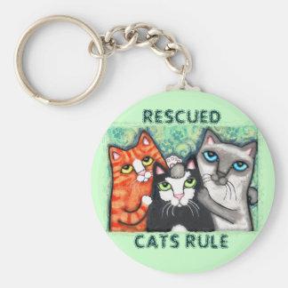 Gato rescatado/del refugio llavero redondo tipo pin