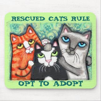 Gato rescatado/del refugio tapete de raton