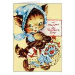 Gato retro a la tarjeta del día de madre de la mom