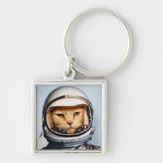 Gato retro de Astro Llavero Cuadrado Plateado