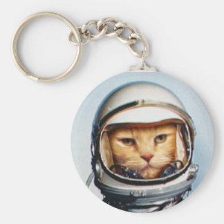 Gato retro del astronauta llavero redondo tipo pin