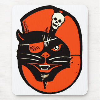 Gato retro del pirata de Halloween del kitsch del Alfombrilla De Raton