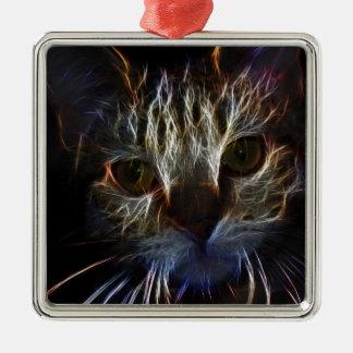 Gato robótico feroz adorno navideño cuadrado de metal