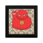 Gato rojo afortunado caja de joyas