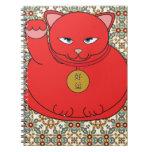 Gato rojo afortunado libros de apuntes