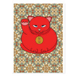 Gato rojo afortunado postal