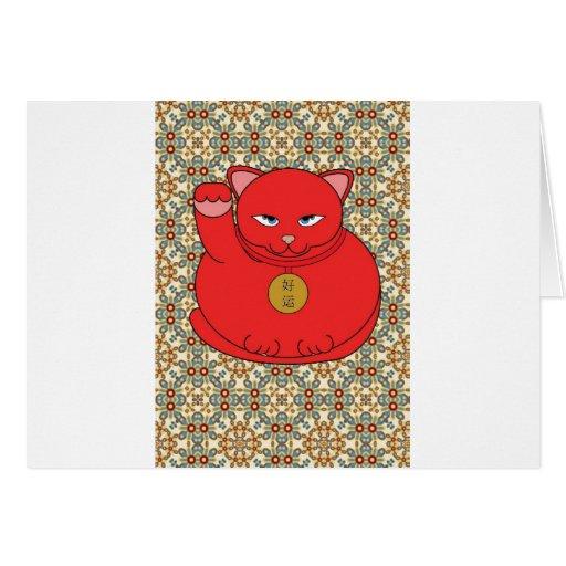 Gato rojo afortunado tarjeton