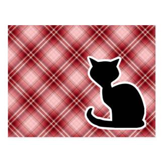 Gato rojo de la tela escocesa tarjeta postal