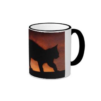 gato rojo del cielo taza de dos colores